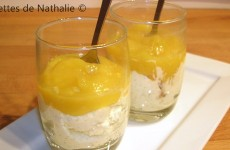Mousse d'agrumes et coulis de mangue