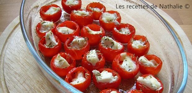 Tomates cerise gratinées au chèvre