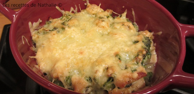 Gratin de brocolis et poulet au roquefort - Et tag !
