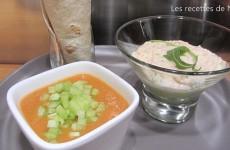 Plateau télé - Wraps, gaspacho et mousse saumon/avocat