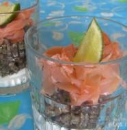 Verrines de lentilles au saumon fumé et mousse à la ciboulette