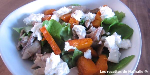 Salade hivernale au potiron confit et poulet rôti