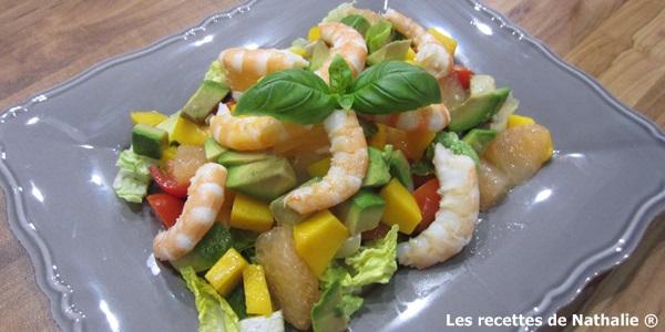 Salade exotique mangue, crevettes, pamplemousse